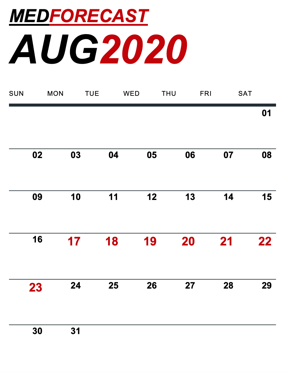 Medical News Forecast for August 17-23