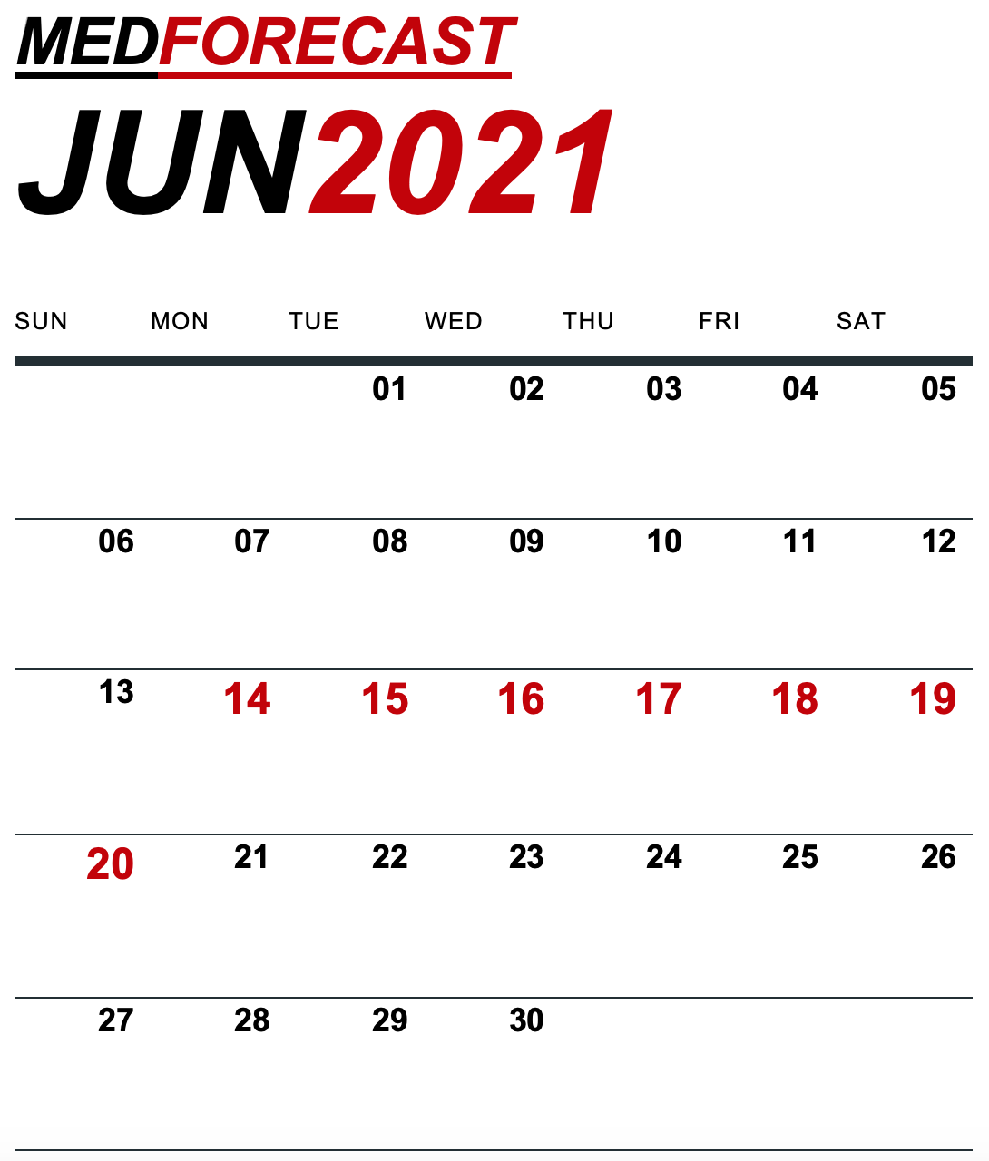 Medical News Forecast for June 14-20